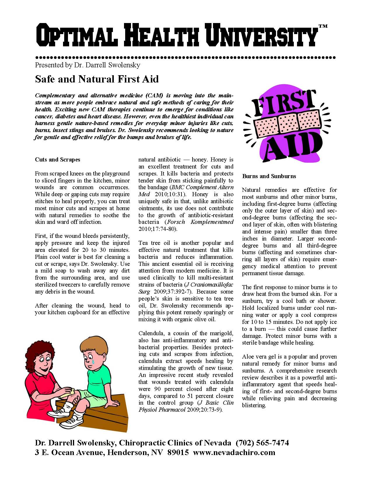 Safe and Natural First Aid | Henderson NV Chiropractor | Dr