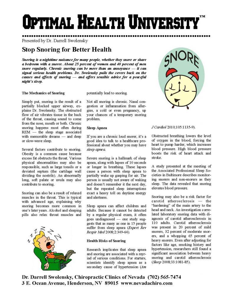 Henderson NV chiropractor | Stop Snoring